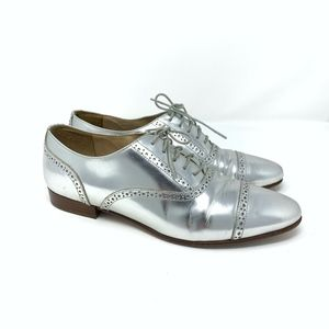 J. Crew Metallic Silver Leather Oxfords Sz 7 {FS}